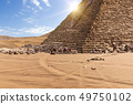 The Pyramid of Menkaure and camels in Giza, Egypt 49750102