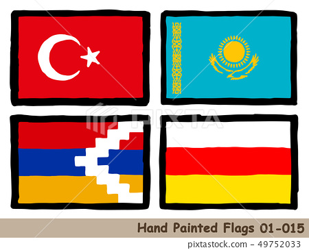 "Hand-painted flag icons ""The flag of Turkey"" ""The flag of Kazakhstan"" ""The flag of the Republic of Alzav"" ""The flag of South Ossetia 49752033"