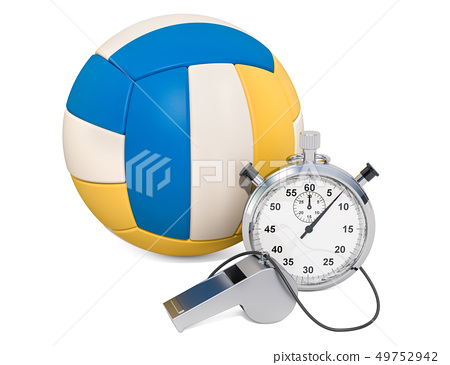 Volleyball ball with whistle and stopwatch 49752942