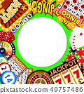 Casino online round pattern vector illustration. Includes roulette, casino chips, playing cards 49757486