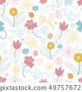 꽃 패턴 꽃과 작은 새, 나비, 무당 벌레 49757672