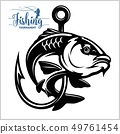 Carp fish. Fishing club sign or emblem. Fisherman sport adventure badge with vector logo. 49761454
