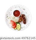 Grilled sausages and tomato sauce on the plate, isolated on white background. Top view 49762145