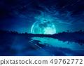 Landscape of sky with supermoon, many stars  49762772