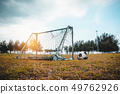 Football gate or soccer goal in neglected on field 49762926