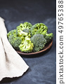 Fresh green organic broccoli in brown plate and 49765388