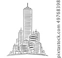Vector Artistic Drawing Illustration of Generic City High Rise Cityscape Landscape with Skyscraper 49768398