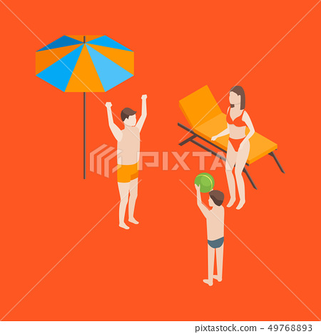 Families Spending Free Time 3d Isometric View. Vector 49768893