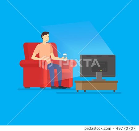 Cartoon Man Watches TV Concept on a Blue. Vector 49770707