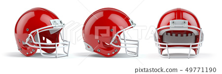 Set of red  american football helmets isolated 49771190