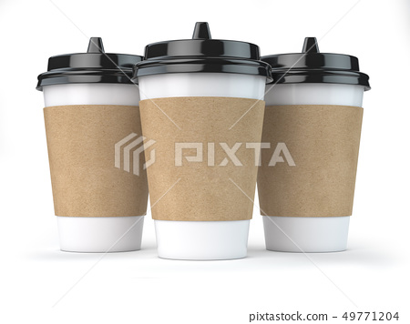 Paper coffee cups isolated on white background. 49771204