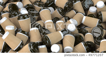 Heap of many empty paper coffee cups. Recycling 49771207