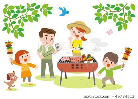Family enjoying barbecue 49784312
