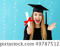 Young woman with a graduation diploma 49787512