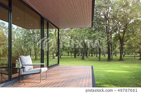 Modern loft style house in the garden 3d render 49787681