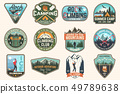 Set of Rock Climbing club and summer camp badges. Concept for shirt or print, stamp, patch or tee 49789638