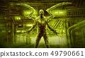 Evil zombie mantis on green background of factory 49790661