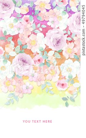 美麗的水彩玫瑰色牡丹花 49794045