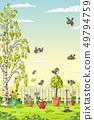 Spring Landscape With Birds 49794759
