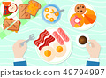 Breakfast table banner or poster vector illustration. Man sitting at table and having breakfast 49794997