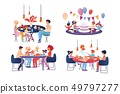 Happy Family Celebrate and Sparetime Set Isolated. 49797277