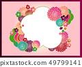 日本模式手寫花背景材料矢量日式框架材料 49799141