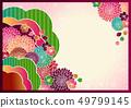 日本模式手寫花背景材料矢量日式框架材料 49799145