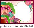日本模式手寫花背景材料矢量日式框架材料 49799146