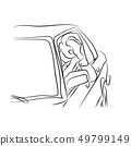 Vector line illustration of a man in traffic on a road 49799149