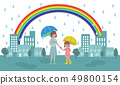Illustration of rainy town and parent and child 49800154