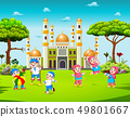 the children playing in the yard near the mosque 49801667
