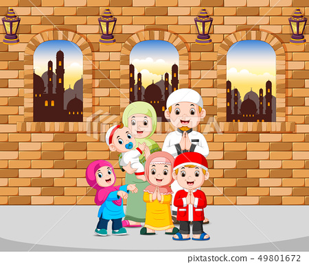 the family give the greeting of ied mubarak  49801672