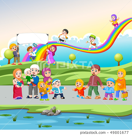 the children playing and walking in the street 49801677