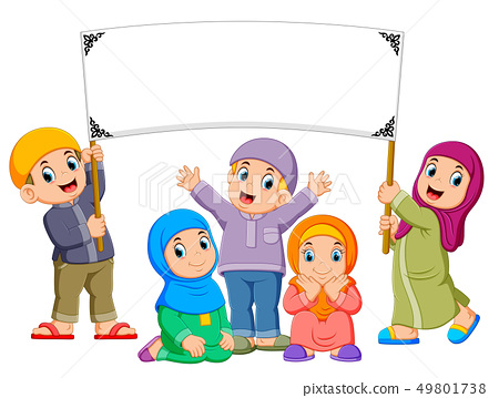A family are playing and holding the blank banner 49801738