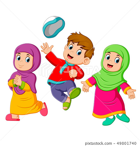 the children playing and jumping in ied mubarak 49801740