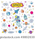 Doodle space. Cosmos trendy kids pattern, hand drawn rocket ufo universe meteor planet graphic 49802630