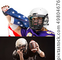 Bearded American football player with national flag, portrait. 49804676