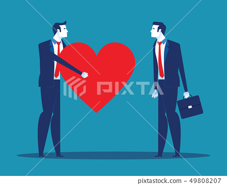 Sincerity. Business people giving heart for 49808207
