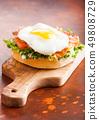 Fresh healthy bagel sandwich with salmon, ricotta 49808729