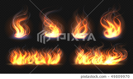 Fire flame effect. Realistic burning line on black background, transparent hot orange light effects 49809970