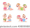 Cartoon babies. Funny newborn boy and girl sitting together, cute twins sister and brother. Vector 49809988