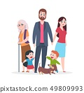 Flat family. Happy hugging people characters standing together, group of kids and parents 49809993