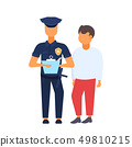man driver with police officer standing together policeman in uniform writing report white 49810215