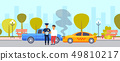car accident crash on road driver with police officer standing over broken vehicle collision concept 49810217