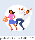 woman knocking man with coffee cup falling down failure accident concept male female cartoon 49810271