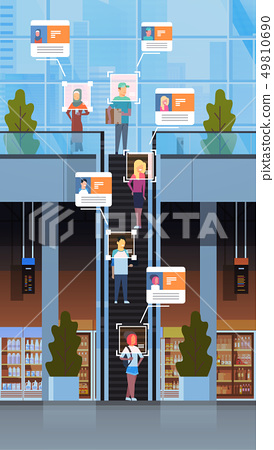 retail store visitors moving staircase escalator identification facial recognition concept modern 49810690