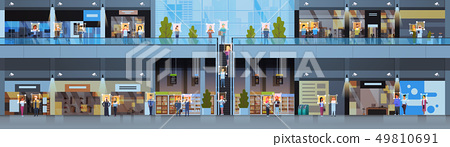 retail store visitors identification facial recognition concept modern shopping mall interior 49810691