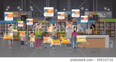 grocery shop customers identification surveillance cctv facial recognition concept mix race people 49810710
