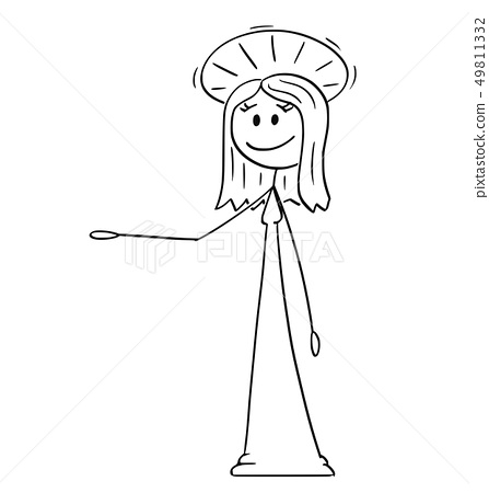 Cartoon of Holy Woman with Halo Offering, Showing or Pointing at Something 49811332