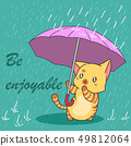 Cute cat in monsoon season. 49812064